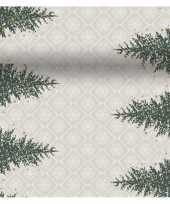 Kerst thema tafelloper placemats grijs goud kerstboom 40 x 480cm