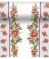 Kerst thema tafellopers placemats met kerststerren 40 x 480 cm