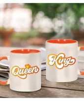 King and queen cadeau mok beker wit en oranje