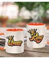 King and queen met kroon cadeau mok beker wit en oranje