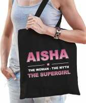 Naam cadeau tas aisha the supergirl zwart voor dames