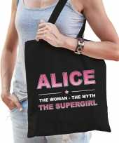 Naam cadeau tas alice the supergirl zwart voor dames