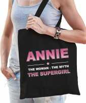 Naam cadeau tas annie the supergirl zwart voor dames