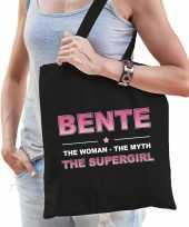 Naam cadeau tas bente the supergirl zwart voor dames