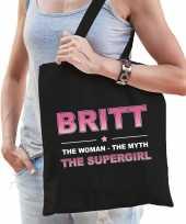 Naam cadeau tas britt the supergirl zwart voor dames