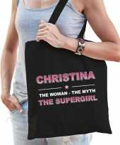 Naam cadeau tas christina the supergirl zwart voor dames