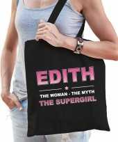 Naam cadeau tas edith the supergirl zwart voor dames