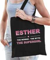 Naam cadeau tas esther the supergirl zwart voor dames
