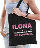 Naam cadeau tas ilona the supergirl zwart voor dames