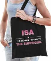 Naam cadeau tas isa the supergirl zwart voor dames