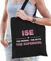 Naam cadeau tas ise the supergirl zwart voor dames