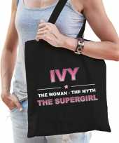 Naam cadeau tas ivy the supergirl zwart voor dames