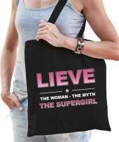 Naam cadeau tas lieve the supergirl zwart voor dames