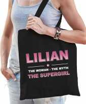 Naam cadeau tas lilian the supergirl zwart voor dames