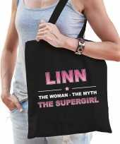 Naam cadeau tas linn the supergirl zwart voor dames