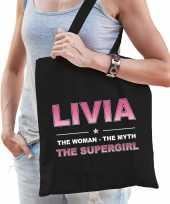 Naam cadeau tas livia the supergirl zwart voor dames