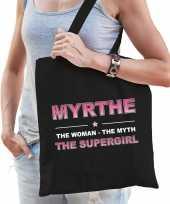Naam cadeau tas myrthe the supergirl zwart voor dames
