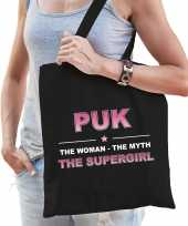 Naam cadeau tas puk the supergirl zwart voor dames