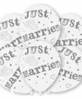 Net getrouwd bruiloft thema ballonnen wit 48x stuks