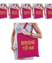 Pakket vrijgezellenfeest dames tasjes goodiebag 1x bride to be roze goud 5x bride squad roze goud