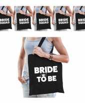 Pakket vrijgezellenfeest dames tasjes goodiebag 1x bride to be zwart 5x bride squad zwart