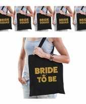 Pakket vrijgezellenfeest dames tasjes goodiebag 1x bride to be zwart goud 5x bride squad zwart go