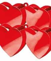 Set van 2x stuks ballon gewichtje rode hartjes stijl