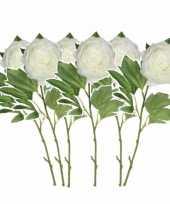 Set van 6x stuks creme witte pioenroos rozen kunstbloemen 76 cm