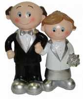 Trouwfiguurtje bruidspaar zilver