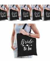 Vrijgezellenfeest dames tasjes goodiebag pakket 1x bride to be zwart 5x bride squad zwart