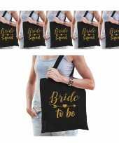 Vrijgezellenfeest dames tasjes goodiebag pakket 1x bride to be zwart goud 5x bride squad zwart go
