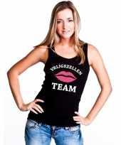 Vrijgezellenfeest team singlet-shirt tanktop zwart dames